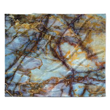 "KESS Original ""Opalized Marble"" Blue Brown Fleece Throw Blanket"