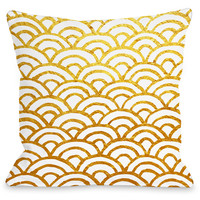 """Scallop"" Indoor Throw Pillow by OneBellaCasa, Gold, 16""x16"""
