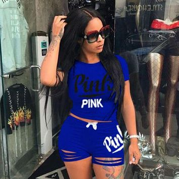 Victoria's secret PINK Women Casual Fashion Shirt Top Tee Shorts Set Two-Piece