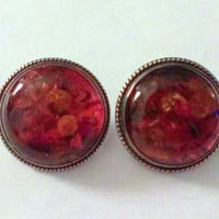Vintage Signed Amber Round Sterling Silver Earrings
