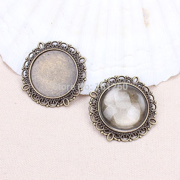 Bronze 10pcs/lot antibronze filigree (20mm for glass)round cameo cabochon base setting pendant tray Jewelry Blanks