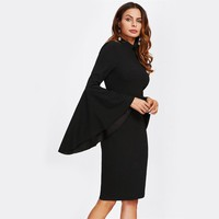 Mock Neck Flare Sleeve Dress