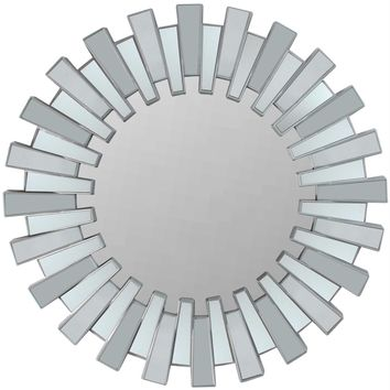 "25.5"" Aztec Inspired Sparkling Sunburst Matte Silver Decorative Round Wall Mirror"