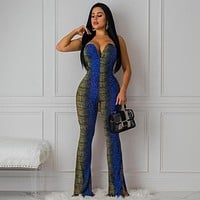 Women Sexy Fashion Snake Print Off The Shoulder Wide Leg Jumpsuit