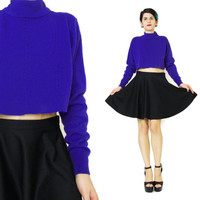 90s Cropped Turtleneck Sweater Crop Top Sweater Bright Purple Sweater Womens Mock Neck Cable Knit Sexy Slouchy Pullover Knit Jumper (S/M/L)