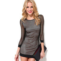 Black Mesh Knitted Mini Dress