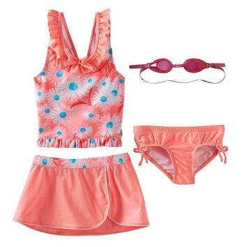 ZeroXposur 3-pc. Daisy Tankini Swimsuit Set - Girls