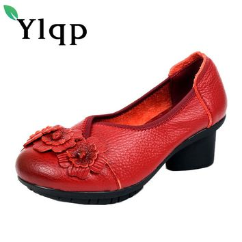 2017 National Wind Flowers Handmade Genuine Leather Shoes Women Retro Soft Bottom Summer floral High Heels Cowhide Leather Shoes