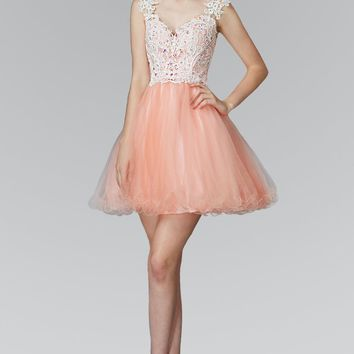 Elizabeth K - GS2045 Lace Embellished V-Neck Tulle Dress