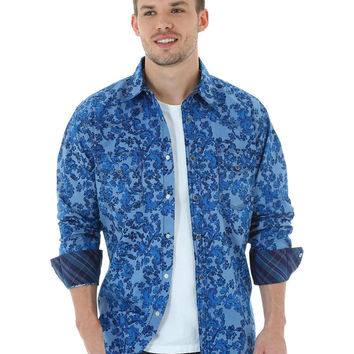 Wrangler 20X Mens Western Snap L/S Light Blue Floral Chambray Shirt