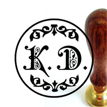 Free shipping double letter design wedding Retro antique ancient sealing wax stamp set customize logo custom map image +handle