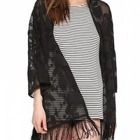 Women's Black Eugen Organza Cardigan - Three-Quarter Sleeves / Fringed Bottom Hemline