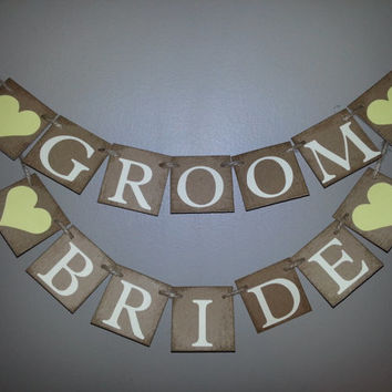 Small BRIDE and GROOM  Banner , Jack and Jill Party , Wedding Banner , Custom Colors , Engagement Photo Prop  , Engagement Announcement ,