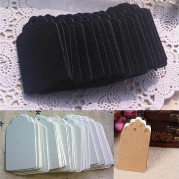 100 Pcs Blank Kraft Paper Hang Tags Wedding Party Favor Label Price Gift Cards Hot