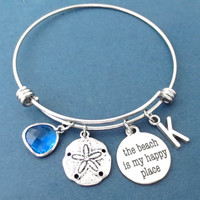 The beach is my happy place, Personalized, Letter, Initial, Starfish, Blue, Ocean, Glass, Bracelet, Bangle, Personal, Lette, Gift, Jewelry
