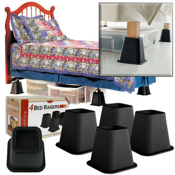 4 Pack of Black Bed Risers   6 Inches - As Seen on TV