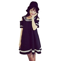 2017 Spring Summer Harajuku Cute Off Shoulder Dress Women Korean Fashion Striped Ladies Short Sleeve Black School Dresses X018