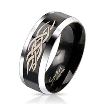 Centered Tribal Inlay Two Tone Black IP Band Ring Stainless Steel