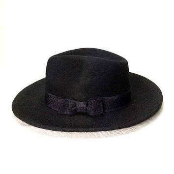 Wide Brim Fedora Men's Black Hat Flat Brim Felt