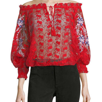 Lace Embroidery Blouse by Free People at Gilt