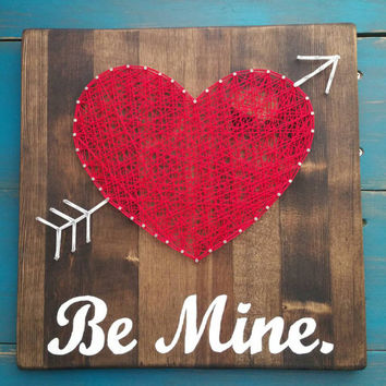 "Valentine's Day String Art Sign, Red Heart with Arrow, ""Be Mine"" Wall Hanging, Romantic Nail Art Home Decor, Unique Valentine's Gift"