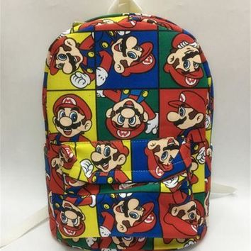 "Super Mario party nes switch  brothers red  canvas backpack shoulder bag 13"" travelling storage ba AT_80_8"