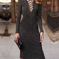 Fashion V-neck sexy package hip dress