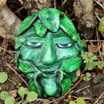Green Man plaque, spring Green Man, Pagan God statue, pagan altar decor, jack of the wood, pagan home decor, Yule gift ideas, Christmas gift