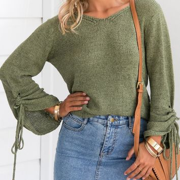 Green Drawstring Cuff Rib Trim Knit Sweater