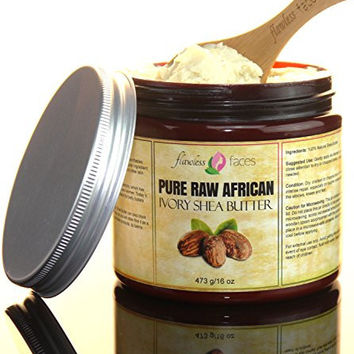 Flawless Faces Ivory African Shea Butter - Pure Raw Grade A Unrefined 16 oz (1 Pound) Imported from Ghana - Sealed in Dark Amber Jar for Best Shelf Life - FREE Scooping Spoon Included - Satisfaction Guaranteed!