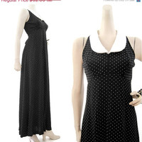 REDUCED 70s Dress Vintage Dolly Empire Waist Maxi Wednesday Addams S M