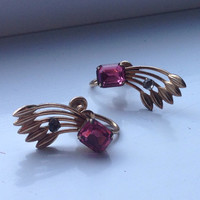 Vintage 12k gold earrings with pink rhinestone. Signed Van Dell.