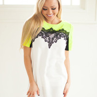 Vintage Laced Dress Neon Yellow