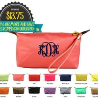 Monogrammed Longchamp Inspired Cosmetic Wristlet Buy 6 or More Save