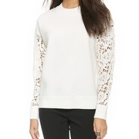 DKNY Pullover with Crocheted Sleeves