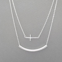 Double, layered, cross, and, bar, silver, necklace, multi, layering, multi, layered, double, layered, necklace, modern, necklace
