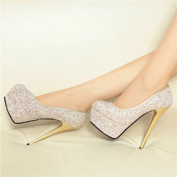 Women Extreme Platform High Heels Pointed Toe 2015 Ladies Shoes And Bags To Match Set Summer Style Club Crystal Thin Heel Bride