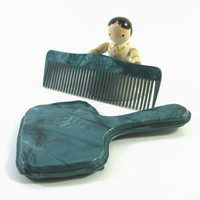 1940s Childs Mirror and Comb Vanity Set Celluloid Set Turquoise Blue