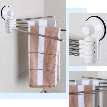 Wall Mounted Suction Cup Stainless Steel Towel Bar Rotatable Towel Rack Holder For Batheroom Home Décor BHW