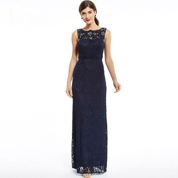 Bridesmaid dress zipper up beaded lace sheath dress dark navy sleeveless floor length bridesmaid dress