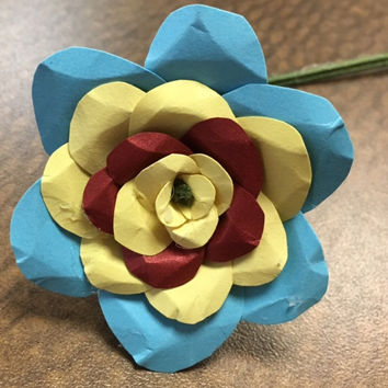 Blue Yellow Red Paper Flower Rose
