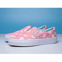 Vans Fashion Women Daisy Floral Slip-On Canvas Sport Casual Old Skool Flat Shoe Sneakers Pink