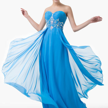 Sky Blue Strapless Beading Ruffled Maxi Dress