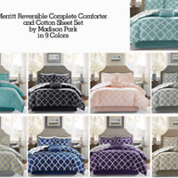 Madison Park Merritt Reversible Complete Comforter and Cotton Sheet Set