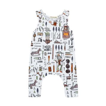 MUQGEW Funny Baby Clothes Cartoon Sleeveless Romper Jumpsuit one piece Outfits Clothes Outfits Sunsuit Colete Masculino Q06