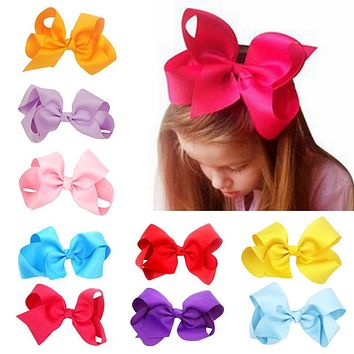 Original Best Baby Big Hair Bows Boutique Girls Alligator Clip Grosgrain Ribbon Lovely