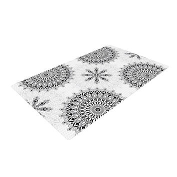"Julia Grifol ""Black Mandala"" White Black Woven Area Rug"