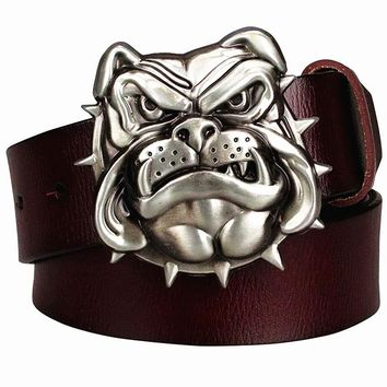 Fashion men's Genuine leather belt metal buckle bulldog head dog western style cowboy belts hip hop