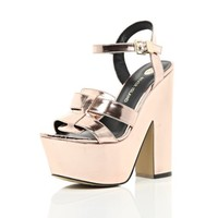 Rose gold metallic platform sandals - heels - shoes / boots - women