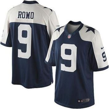 DCCK8X2 Nike Cowboys #9 Tony Romo Blue Thanksgiving Throwback Mens NFL Elite Jersey
